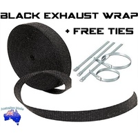 2000F Black Exhaust Heat Wrap 25mm x 7.5m 6 Stainless Steel Ties