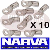 NARVA BATTERY CABLE EYELET LUG CABLE SIZE 16mm2 STUD SIZE 10mm SOLDER X10