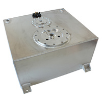 Aeroflow Aluminium Silver 15 Gallon (57L) Fuel Cell Flat Bottom Triple 40mm Pump Hanger & Fuel Sender AF85-4051AS