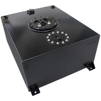 Aeroflow Aluminium Black 76 Litre (20 Gal) Fuel Cell Flat Bottom Triple 40mm Pump Hanger & Fuel Sender AF85-4071ASBLK