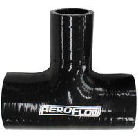 "Aeroflow Silicon Tee Piece Hose 2-1/2"" 63mm I.D x 1"" 25mm Side Leg Black"
