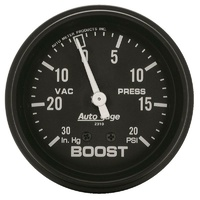 "Auto Meter Auto gage Series Boost/Vacuum Gauge 2-5/8"" Mechanical 20 psi"