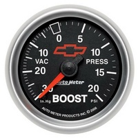 "Auto Meter Chev Bow-Tie Boost Gauge 2-1/16"" Black Dial Mechanical 20 psi"