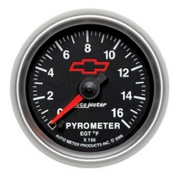 "Auto Meter Chev Bow-Tie Pyrometer Gauge 2-1/16"" Black Dial Electrical 0-1600°F"