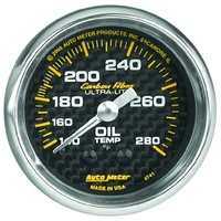 "Auto Meter Carbon Fiber Oil Temperature Gauge 2-1/16"" Mechanical 140-280°F"