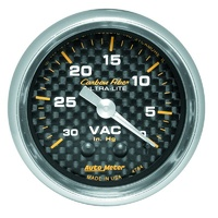 "Auto Meter Carbon Fiber Series Vacuum Gauge 2-1/16"" Mechanical 30 In. Hg. AU4784"