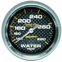 "Auto Meter Carbon Fiber Series Water Temperature Gauge 2-5/8"" Mech 140-280°F"