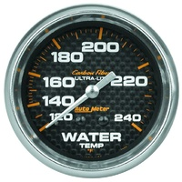 "Auto Meter Carbon Fiber Series Water Temperature Gauge 2-5/8"" Mech 120-240°F"
