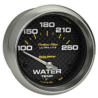 "Auto Meter Carbon Fiber Series Water Temperature Gauge 2-5/8"" Electric 100-250°F"