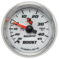 "Auto Meter C2 Series Boost/Vacuum Gauge 2-1/16"" Full Sweep Mechanical 45 psi"