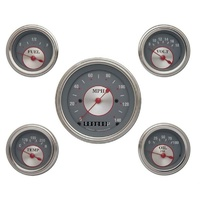 "Classic Instruments Silver Series 5 Gauge Set Kit Includes 3-3/8"" KPH Speedo With 2-1/8"" Accessories Gauges, Curved Glass CISS00SLC"