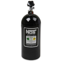 "NOS Nitrous Bottle 10-lb (Black) 21"" x 7"" dia With Hi-Flo Valve & Gauge"