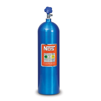 "NOS Nitrous Bottle 15-lb (Electric Blue) 27"" x 7"" dia With Hi-Flo Valve"