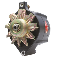 Powermaster Black Smooth Finish Ford Alternator 100 Amps Single Groove V Pulley