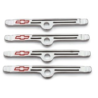 Proform Valve Cover Hold Down Tabs Chrome Suit SB Chev With Bowtie 4 Pack