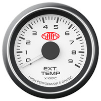 SAAS Exhaust Temp Gauge 0°-900° 52mm White Muscle Series SG-EXT52W1