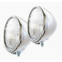 Vintique 1928-1929 Stainless Steel Head Lamps Pair
